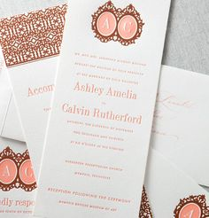 Letterpress wedding invitation. Salmon, Pink, Bronze. Super fabulous wedding invitation. Wedding invitation has the initials of the bride and groom.