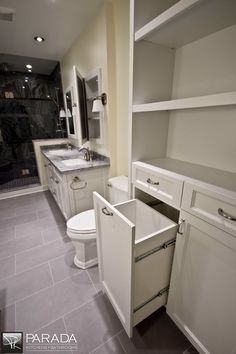 bathroom cabinet with built-in hamper - Google Search