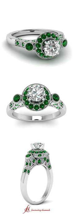 Magnificent Motif Ring || Round Cut Diamond Milgrain Rings With Green Emerald In 14k White Gold #greenemerald #engagementrings