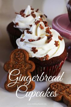Gingerbread Cupcakes with Whipped Cream Cheese Frosting – My Busy Family gingerbread-cupcake-recipe Dessert Party, Christmas Desserts, Christmas Baking, Christmas Cupcakes, Food Cakes, Cupcake Cakes, Cupcake Ideas, Lebkuchen Cupcakes, No Bake Desserts