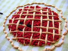 french knot cherry pie by kunderwood {stitchy stitcherson} (From this pattern: https://www.etsy.com/listing/60513529/1-plus-1-is-one-food-math-hand)