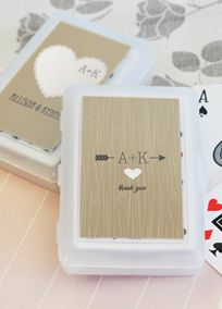 Your wedding guests will be thrilled to take home some of the fun from your big day in the form of these playful favors. With a deck of Vintage Initials Personalized Playing Cards they can think back on all those happy memories over a friendly game amongst loved ones.  Features and Facts:  Size: 2.25 inches x 3.5 inches.  Personalized labels for the the outside of the box are unattached. Some assembly required.  NOTE: Only outside personsonalized label can be changed; the actual playing ...