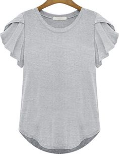 Grey Round Neck Ruffle Short Sleeve T-Shirt