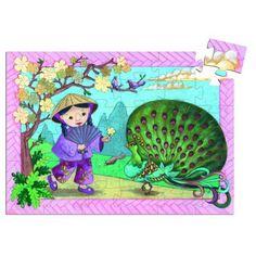 Puzzle 36 pièces - Silhouette : Petite fille avec son paon
