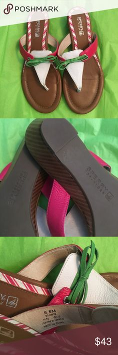 NWOT Sperry Sandals NWT SPERRY TOP SIDER SANDALS.    Pink, Wite, Green ties.                             Leather Upper    US 6.5 Sperry Top-Sider Shoes Sandals