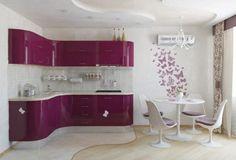 diseno de cocina en  color rosa con alto brillo