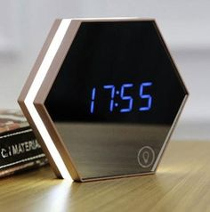 Hexagonal Mirror Digital Alarm Clock