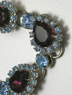 Vintage Amethyst  & Blue Rhinestone  Link Bracelet        Offered by Ruby Lane shop The Vintage Jewelry Boutique