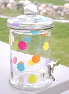 Polkadot Lemonade Jug Tutorial.  Cute!! I happen to have a clear jug and stand that could use some dressing up!