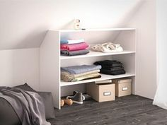 Afbeeldingsresultaat voor rangements sous pente - Gisella P. Ikea, Attic Organization, First Apartment, Closet Bedroom, Cupboard, Baby Room, Layout, Furniture, Cabinets