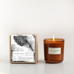 Inspired by the fresh evergreens that grow in the airy mountains of Montana, we created a scent reminiscent of nature in a far-off place. A Brooklyn Candle Studio original blend of blue spruce, pine, Candle Packaging, Candle Labels, Soap Packaging, Packaging Ideas, Holiday Candles, Diy Candles, Scented Candles, Homemade Candles, Luxury Candles