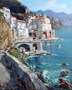Atrani by Vincenzo Aprile (Italian b. Italian Paintings, Great Paintings, Beautiful Paintings, Oil Paintings, Costa, Landscape Art, Landscape Paintings, Greece Painting, Beach Wall Art