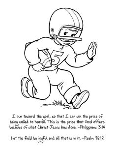 Perfect Sunday School Coloring Sheet For Super Bowl I Run Toward The Goal