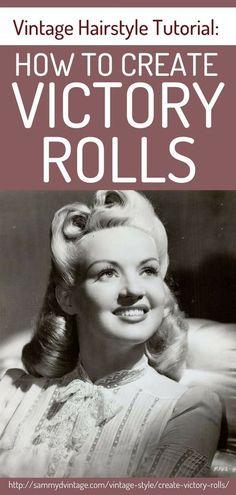 Vintage Hairstyles Retro Vintage Hairstyle Tutorial: How To Create Victory Rolls Vintage Short Hair, Vintage Hairstyles For Long Hair, Vintage Hairstyles Tutorial, Vintage Wedding Hair, Retro Hairstyles, Hairstyle Tutorials, Wedding Hairstyles, Hair Wedding, Short Hairstyles