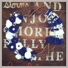 BYU wreath, grapevine wreath, felt flower wreath, college sports wreath, sports wreath, fabric flower wreath on Etsy, $38.00 Maybe I could make it WVU