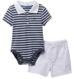 Calvin Klein Polo Bodysuit & Shorts Set (Baby Boys) #babyboy, #calvinklein, #promotion