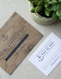 Nautical Real Wooden Wedding Invitation Anchor by CheerUpCherup, $6.00