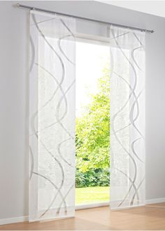 """Sliding Curtain """"Bruges"""" Velcro Rail White - bpc living - buy now in the online shop of bonprix. High quality sliding curtain made of . Small Window Curtains, Sliding Curtains, Curtains With Blinds, Sheer Curtains, Window Coverings, Window Treatments, Small Backyard Gardens, Lounge Decor, Shades Blinds"""