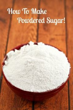 Learn how to make powdered sugar and save yourself a trip to the store when you run out! Great for icings, cookies, donuts and decorations! (how to make frosting for sugar cookies) Homemade Spices, Homemade Seasonings, Homemade Dry Mixes, Homemade Recipe, Make Powdered Sugar, Granulated Sugar, Powdered Sugar Substitute, Frosting Without Powdered Sugar, Confectioners Sugar