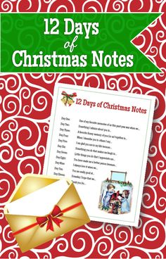 This is a great activity to do with your family during December! This could really help bring extra love in your home during the season! 12 days of Christmas notes. Write a note with a theme to each family member leading up to Christmas Day. Christmas Note, Christmas Games, 12 Days Of Christmas, Christmas Is Coming, Christmas Activities, Little Christmas, Christmas Printables, Family Christmas, Christmas Projects