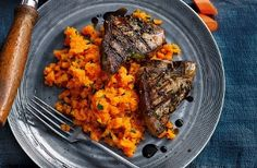 Sausages with tomato leek and butter bean mash recipe butter carrot tarragon mash with lamb chops vibrant in colour flavour find lots more seasonal recipes such as this easy lamb recipe at tesco real food forumfinder Images