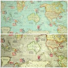 World-Map-Atlas-Fabric-100-Cotton-Linen-Look-Blue-or-Taupe-Colourway-135cm-Wide