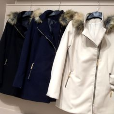 Manteau zip 54€, capuche amovible, fourrure synthétique Made in Italy