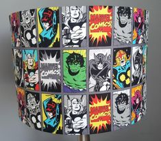 Super Hero fabric handmade lampshades, novelty lampshades for a kids bedroom or playroom. Gender neutral fabric ideal for both little boy and girls Little Boy And Girl, Little Boys, Boy Or Girl, Marvel Room, Personalised Bunting, Handmade Lampshades, Name Frame, Fabric Lampshade, Hand Roll