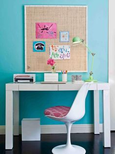 Eclectic Bedrooms from JAC Interiors on HGTV || A custom made bulletin board, white modern desk and a white tulip chair create a study area in this tween girl's bedroom.
