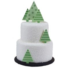 "A Sparkling Season Cake - The gentle glistening of sparkling white sugar ""snow"" adds a peaceful, yet festive mood to this holiday scene. Modern-inspired, abstract trees add stunning dimensional interest."