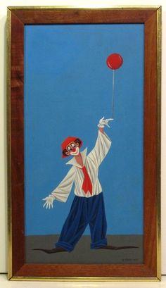 VENIERO CANEVARI Listed Italian Artist Surrealist Oil Painting CLOWN w/ BALLOON #OutsiderArt