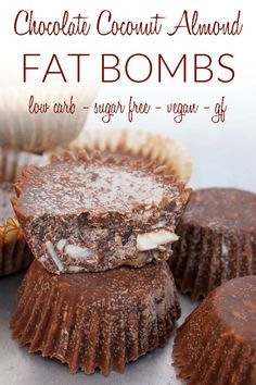 Chocolate Coconut Almond Fat Bombs (vegan, gluten free, low carb, sugar free) - These healthy sweet treats are a great way to add coconut oil into your diet! #vegan #fatbombs #keto #lowcarb #sugarfree