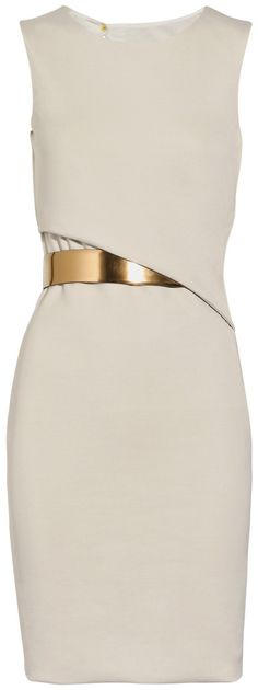 ...simple white Gucci dress with a gold cincher.
