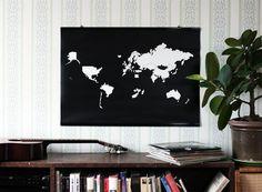 "World map poster - sticker poster - travel poster - ""Go! World"" map"
