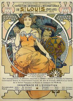 St. Louis Missouri World's Fair poster art by Mucha.1904