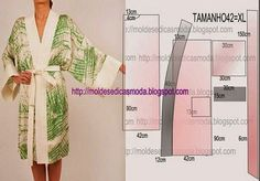 Japanese Robe, Easy to do. Shortened it would make a cute Kimona Jacket.Moules Fashion for MeasureMod@ en LineNo automatic alt text available. Sewing Hacks, Sewing Tutorials, Sewing Crafts, Sewing Projects, Clothing Patterns, Dress Patterns, Sewing Patterns, Gown Pattern, Craft Patterns
