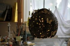 Butterflies on a Hive Paper Pulp Lamp shade by DolcheTodolche Unique Lighting, Pendant Lighting, Gold Ceiling, Pulp, Butterfly Pendant, Lamp Shades, Christmas Bulbs, Lights, Chocolate