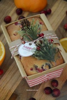 Orange Cranberry bread from the Idea Room. This is such a pretty bread and I bet it tastes delicious. I definitely want to try making this one soon. This Orange Cranberry bread just screams Christmas - a perfect holiday gift to make. Edible Christmas Gifts, Christmas Bread, Edible Gifts, Christmas Goodies, Christmas Desserts, Holiday Treats, Christmas Diy, Handmade Christmas, Diy Food Gifts