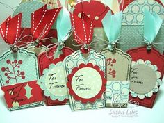 Holiday gift tags by Susan Liles using Verve Stamps. #vervestamps
