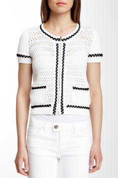 Valentino Crochet Zip Knit Cardigan