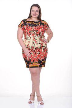 Moda feminina plus size   81814 Vestido estampado floral com detalhe em renda nas costas