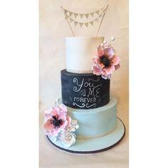 Pastel Chalkboard Wedding Cake! by Beth Evans - http://cakesdecor.com/cakes/216093-pastel-chalkboard-wedding-cake