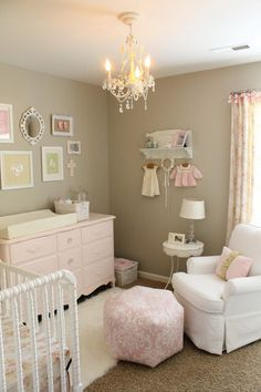 Baby Girl Room Ideas - Reorganizing a bedroom into a girl nursery needs more efforts. Parents should decide the best baby girl room ideas. Baby Bedroom, Nursery Room, Girls Bedroom, Nursery Decor, Nursery Ideas, Baby Rooms, Chic Nursery, Kids Rooms, Taupe Nursery