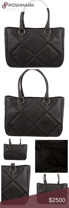"BOTTEGA VENETA BLACK TEXTURED BAG This gorgeous and versatile Bottega Veneta black tote bag is designed in the highly recognizable  ""Intrecciato"" textured pattern throughout. Hardware: Gunmetal. Features dual rolled top handles, zip closure at top and dual pockets inside. Made in Italy. Color: Black. Lining: Black Nylon. Approx. Measurements: Handle Drop 6.5"", Height 9"", Width 13"", Depth 4.5"". Condition: Excellent. Includes dust bag. Posh Concierge will Authenticate. Offers Welcomed. Bottega…"