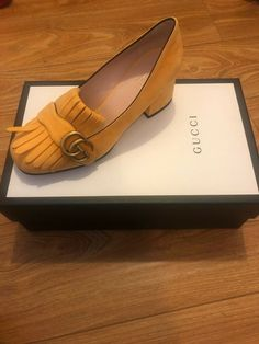 8a677edf3c1 Gucci Marmont Yellow Suede Healed Loafers Sz36 6  790 Never Worn New W Box