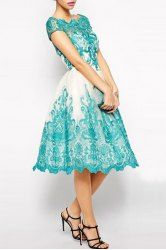 Elegant Jewel Neck Short Sleeve Hollow Out Spliced Lace Dress For Women (AZURE,XL) | Sammydress.com Mobile