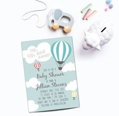 Hot Air Balloon Baby Shower Invitation, Up, up and Away Printable Invite, Gender Neutral, Couples Shower, Baby Sprinkle, Birthday Party