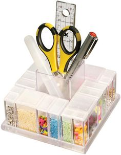 Laliberi Storage Carousel Caddy is great for craft organization! Such an easy way to store all of your beads and measuring tools in your personal craft room.