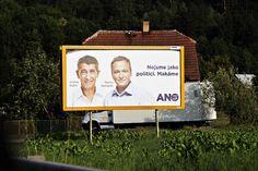 Předvolební billboard politického hnutí ANO podnikatele Andreje Babiše.