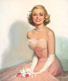 pink gown with long white gloves
